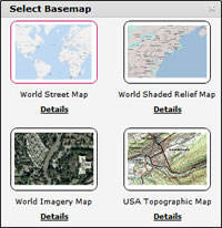 Start every project by selecting from several basemaps.