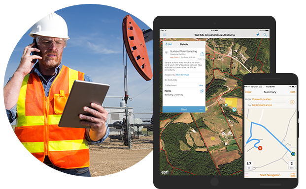 Petroleum worker using ArcGIS software on job site location