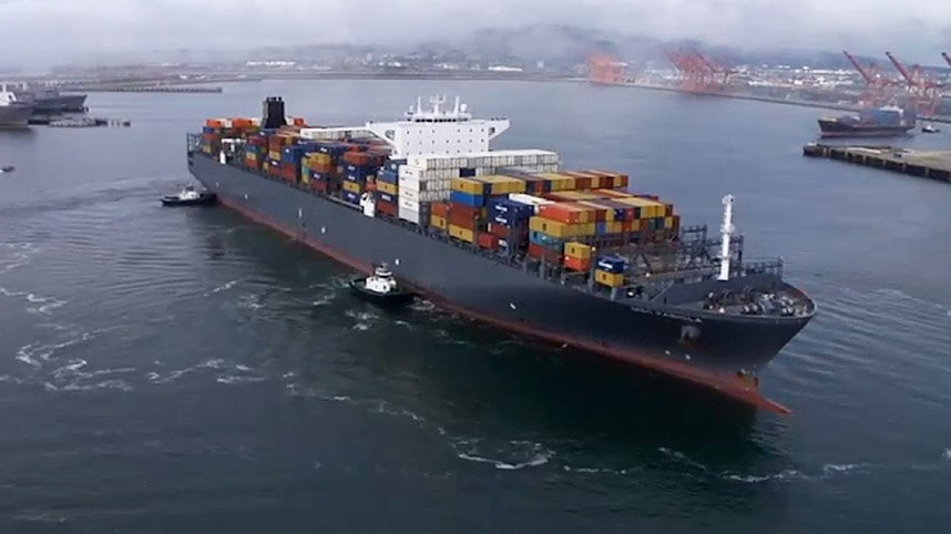 Cargo ship with shipping containers at the Port of Long Beach