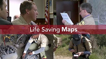 Sierra Madre Search & Rescue Team using lifesaving maps