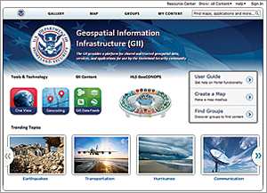 The GII Platform, which is based on Portal for ArcGIS, supplies shared and trusted geospatial data, services, and applications for use by the homeland security community.