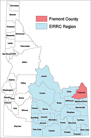 Geographic area of the Eastern Idaho Regional Resource Center.