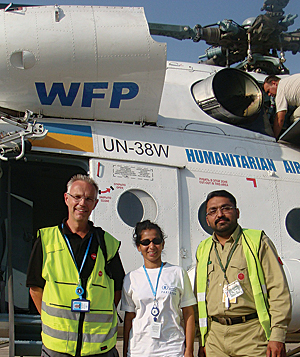 When floods ravaged Pakistan in 2010, Senadheera and colleagues flew in a United Nations Humanitarian Air Service helicopter hovering low over hard-hit Sindh province to drop food to hungry people.