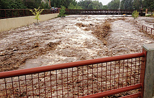 Streams and rivers surged, overrunning banks and affecting bridges and pathways throughout Colorado in September 2013.