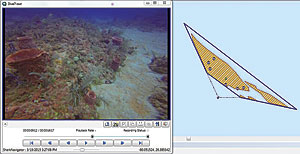 In this full motion video, playing in ArcGIS 10.3.1 for Desktop, the field of view of the camera is shown by the dark blue trapezoid on the right. Users can click inside the video to digitize species and habitat types, which appear as points in the screen on the right.