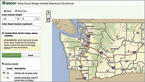 The Bridge Vertical Clearance Trip Planner allows truck operators to easily see which crossings should be avoided.