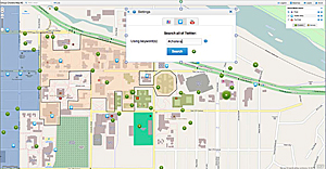 Campus map demonstrating the location of Tweets that were posted by course staff who were simulating students infected with cholera.