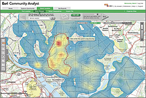 The Community Analyst geodesign tool can be used to glean information about a variety of community/people focused demographic data and reports.