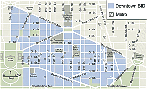 The DowntownDC BID Boundary Map, a 138-block area of approximately 520 properties.