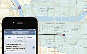 GeoEvent Processor can generate travel-time geofences that notify customers when a delivery is minutes away.