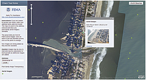 Using National Oceanic and Atmospheric Administration (NOAA) nadir imagery and Civil Air Patrol (CAP) imagery of Breezy Point, New York, to show homes destroyed by gas fire.