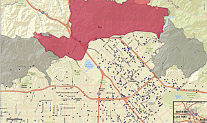 Sayre Fire, 2008. The map displays the location of foster homes relative to the fire's perimeter.