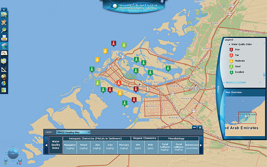 the interactive map presents the marine water quality index for sampling sites in the arabian gulf water of abu dhabi