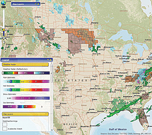 PLRB Map delivers real-time radar reflectivity, including detailed patterns of precipitation falling at the present time, as well as future precipitation estimates for national-level forecasts of rain, hail, snow, and ice based on different time periods.