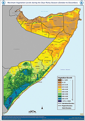 Maximum vegetation levels in Somalia during the Deyr rainy season from October through December.