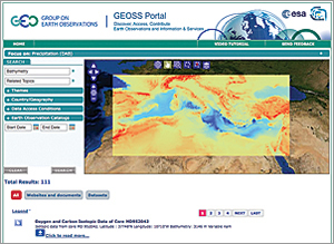 The GEOSS Portal: Here an analyst overlays GEOSS oxygen, carbon, and climate sensor data on Esri's Mediterranean bathymetry to study precipitation.