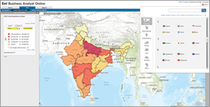 The Advanced database for India contains data on more than 80 attributes at the Subdistricts, Districts, States, and Country geography levels. This map shows medical spending by district.