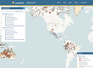 The interactive LandMark map displays shapefiles that show indigenous and community lands all over the world.