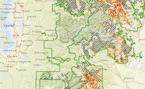 The US Forest Service produces maps that display insect and disease risk, such as this one for the Pacific Northwest. Stripes denote wilderness lands, and red indicates infestation.