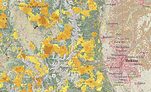 Using maps like this one, which illustrates fire potential and forest risks from insects and disease, the USFS helps private forestland owners manage their properties and works with communities to build public policy.