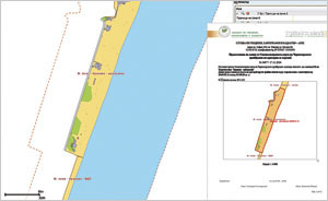 The Geodesy, Cartography, and Cadastre Agency (GCCA) can now use the specialized map of the Black Sea Coast to provide online administrative services, such as sending a requester this map and object information for the central beach in the village of Kranevo.
