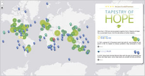 The Tapestry of Hope, a customized Esri Story Map, pinpoints youth-focused projects on a world map.
