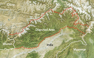 Indian maps portray the disputed territory of Arunachal Pradesh as part of India, while Chinese maps envelop the area inside China's own borders, calling it South Tibet.