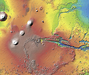 This map of the topography of Mars was generated by the Mars Orbiter Laser Altimeter instrument aboard NASA's Mars Global Surveyor spacecraft.