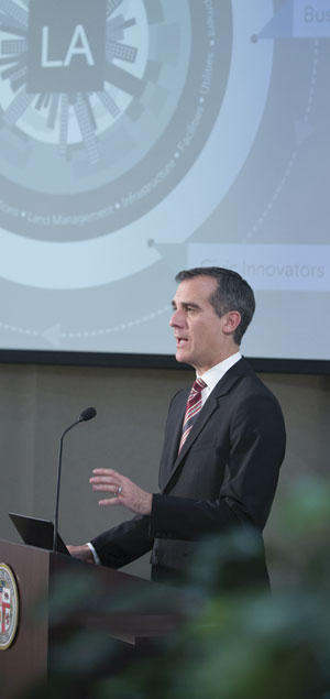Los Angeles mayor Eric Garcetti launched GeoHub at the city's La Kretz Innovation Campus on January 29.