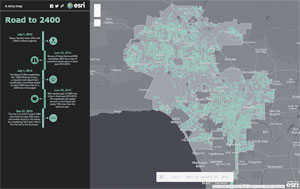 The GeoHub app called Road to 2400 shows the 2,400 lane miles of streets Los Angeles was able to pave on a 2,200-lane budget.