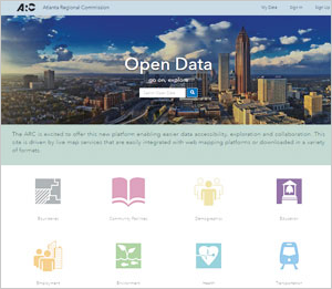 The Atlanta Regional Commission's Open Data site is driven by live map services that integrate easily with web mapping platforms and can be downloaded in a variety of formats.