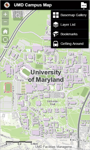 The award-winning UMD Interactive Campus Web Map is optimized for use on both desktop browsers and mobile devices.