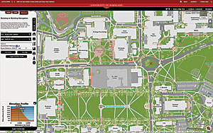Students use the campus web map to determine the optimum routes between facilities.