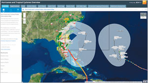 For Hurricane Matthew in 2016, ArcGIS Online was used to create new views instantly whenever new data was provided.