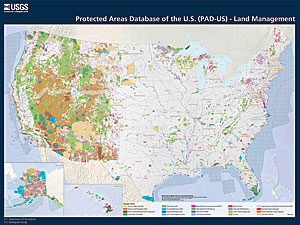 PAD-US contains 3 billion land and water acres managed by more than 15,000 agencies and NGOs in over 150,000 separate parks and protected areas in the United States and its territories.
