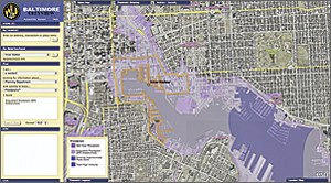 Floodplain information layered over a map of the Inner Harbor.