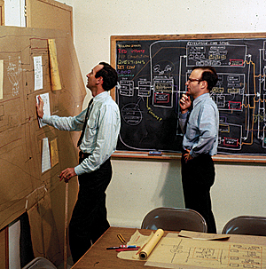 Figure 6. Peter Rogers (left) and Carl Steinitz at the Laboratory for Computer Graphics, Graduate School of Design, Harvard University, in 1967.