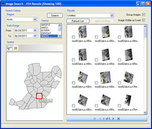 Using the Image Browser utility, the analyst searches by area, date, and sensor to see the available images.