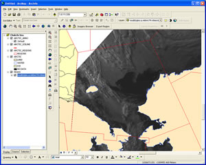 A SIPAS interface makes it possible for the user to load a moderate-resolution imaging spectroradiometer (MODIS) image into GIS and edit this region for the Chukchi Sea.