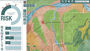 The interactive GIS map allows users to sketch various design elements directly on the map and then receive instant feedback on the potential impact of those designs on the left-hand dashboard, displayed here as risk or benefits. (Courtesy of Boykin Witherspoon.)