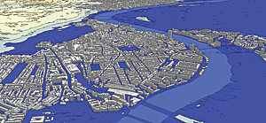 London flood mapping analysis and visualization in CityEngine.