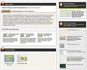 The home page for the FrogWatch USA FieldScope project.
