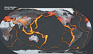 Earthquakes primarily occur along tectonic plate boundaries with many events happening in proximal locations.