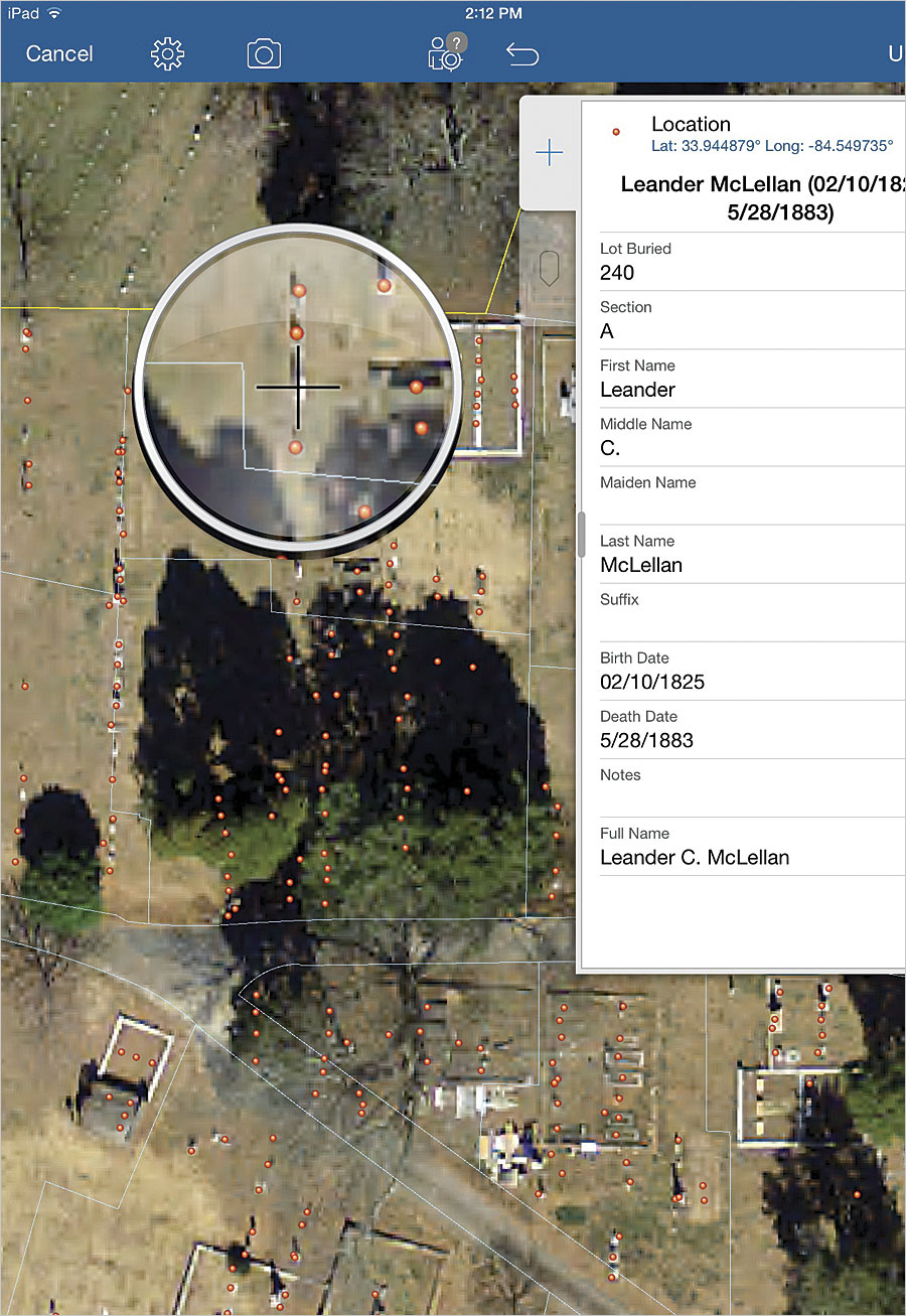 the editors tasked with recording data in the cemetery used collector for arcgis which allowed them to zoom in on high resolution imagery to get accurate