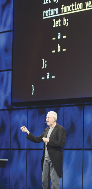 Keynote speaker Douglas Crockford advised app developers to edit their programs down to just the essentials.