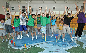 National Geographic Giant Traveling Maps are powerful tools for introducing geography and map-reading skills to students in grades K-8. (Photo by Scott Schilling.)