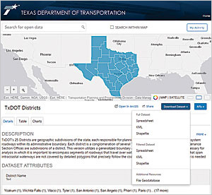The Texas Department of Transportation (TxDOT) implemented an ArcGIS Open Data site, which anyone can use to download information on the work the department is doing.