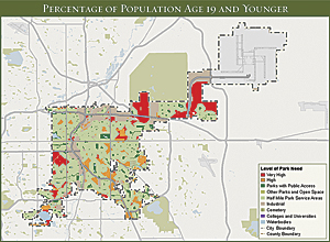 This ParkScore map illustrates the level of park need for Denver's children and adolescents by showing the areas of the city with and without park access.