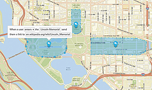 The Esri Geotrigger feature allows an application to send messages in real time to individual users as they encounter a geofenced area. Here, a visual trigger editor allows a nontechnical staffer to modify geofence locations and Geotrigger logic on the fly, without writing any new code.