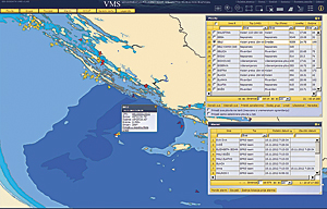 An overview of the last available positions of every vessel gives the Department for Fisheries a near real-time picture of vessel activity. Detailed information about a vessel is quickly accessible.